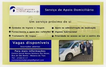 Inscrições para o Serviço de Apoio Domiciliário